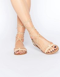 Asos Fate Leather Embroidered Tie Leg Sandals Nude Beige