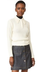 Frame Button Shawl Collar Sweater Chalk