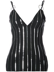Thierry Mugler Sequined Tank Top Polyester Viscose Black