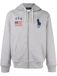Polo Ralph Lauren Embroidered Logo Hoodie Grey