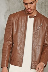 Forever 21 Ribbed Faux Leather Jacket Camel