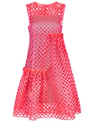 Paskal Neon Pink Laser Cut Dress