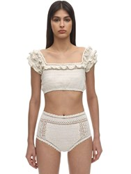 She Made Me Saachi Ruffled Crochet Bikini Top White