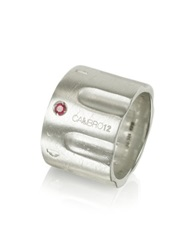 Calibro12 Limited Edition Sterling Silver And Ruby Ring W Chain