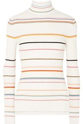 Sjyp Striped Ribbed Knit Turtleneck Sweater Cream