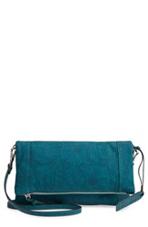 Sole Society Tooled Faux Leather Foldover Clutch Blue Teal