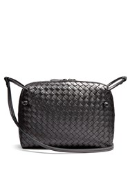 Bottega Veneta Nodini Intrecciato Leather Cross Body Bag Dark Grey