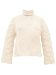 Loewe Open Back Faux Pearl Neck Ribbed Cashmere Sweater Cream