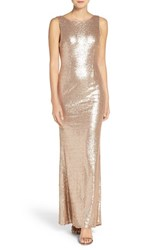 Lulus Women's Lulu's Sleeveless Sequin Drape Back Gown Matte Rosegold