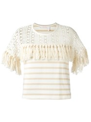 See By Chloe Fringed T Shirt Nude Neutrals