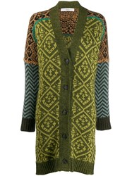 Tela Colourful Knit Cardigan Green