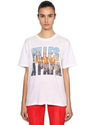 Filles A Papa Logo Riviera Print Cotton T Shirt White
