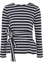 J.Crew Striped Cotton Jersey Top Navy
