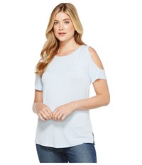 Calvin Klein Short Sleeve Cold Shoulder Top Chambray Blue Women's Clothing