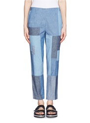 3.1 Phillip Lim Denim Patchwork Cropped Pants Blue