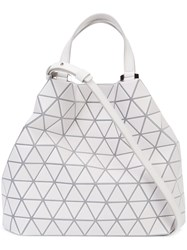 Issey Miyake Bao Bao Crystal Matte Tote Women Calf Leather Polyester Polyurethane Brass One Size Grey