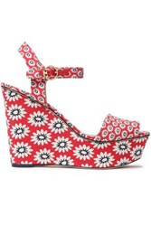 Tory Burch Printed Canvas Wedge Sandals Red