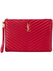 Saint Laurent Monogram Quilted Pouch Red