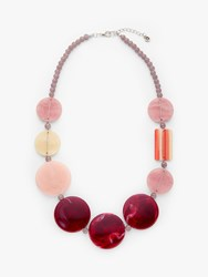 One Button Beaded Statement Necklace Soft Rose Wine