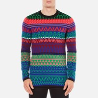 Mcq By Alexander Mcqueen Men's Geo Fairisle Crew Neck Jumper Fairisle Mix