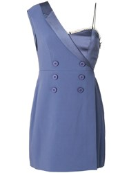 Three Floor Take Shape Off Shoulder Blazer Dress Polyester Spandex Elastane Viscose Blue