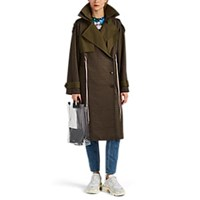 Besfxxk Plaid Wool Flannel Trench Coat Khaki