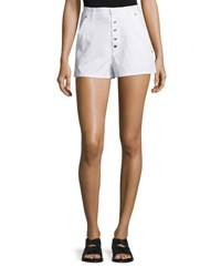 Rag And Bone Branson Snap Front Twill Shorts White