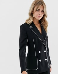 Asos Design Suit Blazer In Mono With Contrast Piping Black