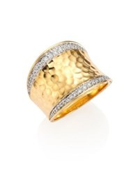 John Hardy Classic Chain Pave Diamond And 18K Yellow Gold Hammered Saddle Ring