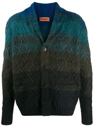 Missoni Striped Cable Knit Cardigan Blue