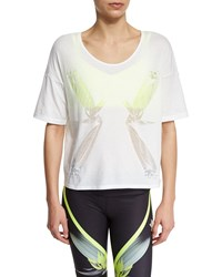 Alo Yoga Birds Of Paradise Graphic Short Sleeve Top White Women's