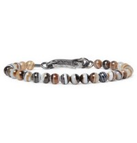 Bottega Veneta Agate Oxidised Silver Bracelet Brown