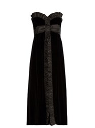 Miu Miu Bow Front Strapless Silk Faille Trim Velvet Dress Black