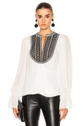 Oscar De La Renta Crossover Blouse In White