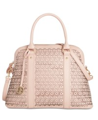 Giani Bernini Perforated Floral Leather Dome Satchel Only At Macy's Pink