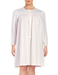 Miss Elaine Plus Floral Embroidered Nightgown Pink