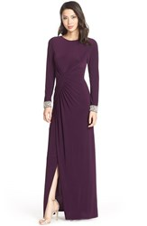 Women's Vince Camuto Beaded Cuff Ruched Jersey Gown