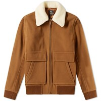 A.P.C. Bronze Shearling Wool Jacket Brown