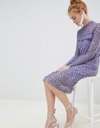 Soaked In Luxury Floral Midi Dress Violet Tulip Purple