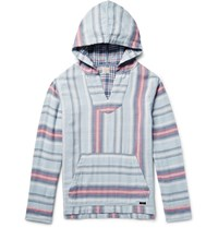 Faherty Baja Striped Double Faced Cotton Hoodie Light Blue