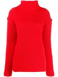 Tory Burch Funnel Neck Sweater Red