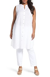 Eileen Fisher Plus Size Women's Handkerchief Organic Linen Sleeveless Tunic White
