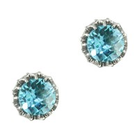 London Road 9Ct White Gold Stud Earrings Blue Topaz