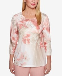 Alfred Dunner Petite Lace Trim T Shirt Pink Flowers