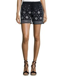 Neiman Marcus Embroidered Drawstring Shorts Navy