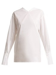 Joseph Elsie Asymmetric Neck Cotton Shirt White