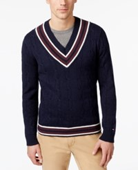Tommy Hilfiger Men's V Neck Cable Knit Cotton Sweater Navy Blazer