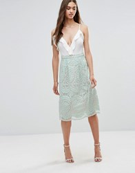 Darling Lace Skater Skirt Mint Green