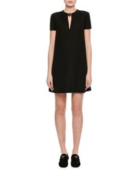 Valentino Crepe Couture Panther Collar Shift Dress Black