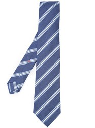 Isaia Striped Tie Blue